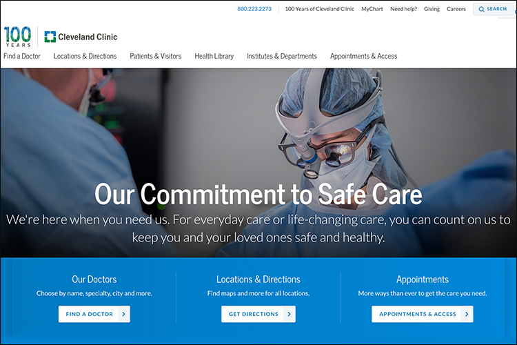 Here is an example of a well developed hospital website.